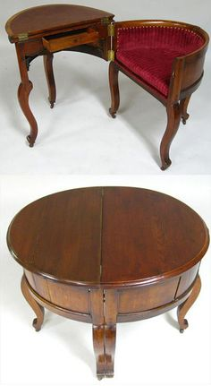 An ingenious Victorian Metamorphic Combination Table, Desk, and Chair (shown open and closed) was made of oak around the 1850s, after a design by Stephen Hedges. Other similar examples are housed in museums in New York and New Orleans.
