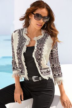 A girl never can have too many chic jackets. And you'll love the intricate embroidery and bead details on this stylish fringe trim jacket with three-quarter sleeves and hook- Denim Fashion, Hijab Fashion, Boho Fashion, Fashion Outfits, Womens Fashion, Fashion Trends, Mirror Jacket, Classy Outfits, Casual Outfits