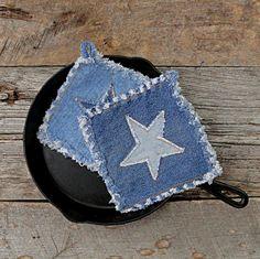 The Best Potholders Ever - Denim Star  - Denim Potholders
