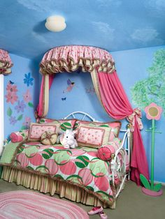 With its fun femininity, this toddler room is sure to delight any little girl who loves stories of faraway lands and happy endings. Discover more kids room decorating and organizing tips and ideas @ http://kidsroomdecorating.net