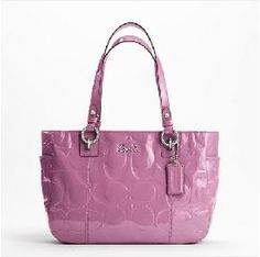 NEW with tags, COACH GALLERY EMBOSSED PATENT Purse, Style #F17728, Silver/Rose *SHIPS FREE!*