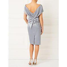 Buy Jacques Vert Lorcan Bardot Bow Back Dress, Light Grey Online at johnlewis.com
