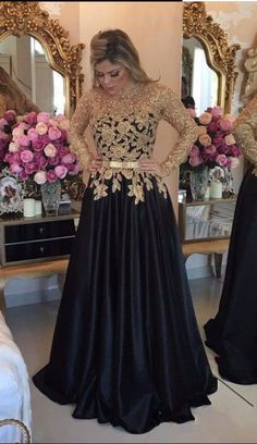 Elegant Long Sleeves Black Prom Dresses, Long Evening Dresses With Gold Appliques CR 1082 Prom Dresses Long With Sleeves, Black Prom Dresses, A Line Prom Dresses, Trendy Dresses, Fashion Dresses, Dress Prom, Dress Black, Black Gown With Sleeves, Dress Long