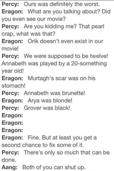 Percy Jackson, Eragon, and Aang fight over which of their movies was the worst.