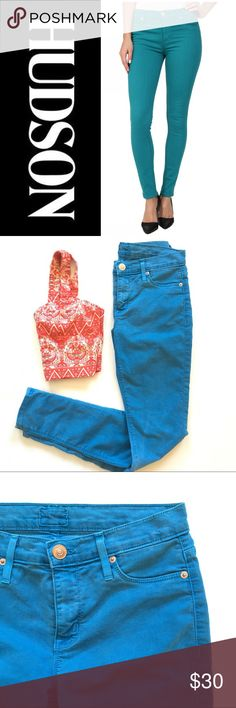 Hudson Nico Super Skinny Midrise Pants Stock photo shows fit. My photos show color. Color is Aqua. Some lightning discolorations in seat. Vintage look. No holes, stains, pulls. Inseam is 30. Waist flat is 14. Front rise is 8.5. Hudson Jeans Pants