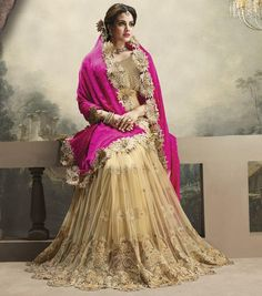 Pink and Beige Color Half Crepe and Half Net Designer Sarees : Shehzaadi Collection YF-20623