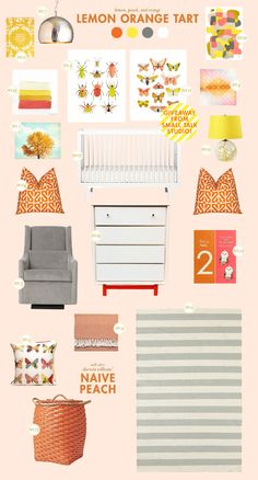 orange and yellow baby nursery inspiration board -- love the bugs :)