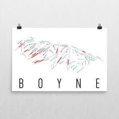 Boyne Ski Map Art, Trail Map, Print, Poster From $39.99 - ModernMapArt