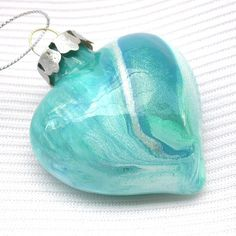 Turquoise Heart Ornament by creationsbyjdb, via Flickr