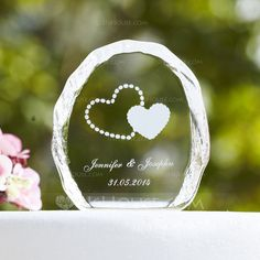 Personalized Favors - $11.69 - Personalized Double Hearts Crystal Cake Topper (118030223) http://jjshouse.com/Personalized-Double-Hearts-Crystal-Cake-Topper-118030223-g30223