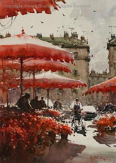 Flower Stalls, Paris - Watercolor by Joseph Zbukvic I like the way the white areas lift the painting. The contrast of light and dark areas give a simple scene drama. Art Aquarelle, Watercolor Artists, Watercolor Landscape, Watercolour Painting, Painting & Drawing, Watercolours, Image Paris, Joseph Zbukvic, Pintura Exterior