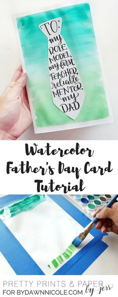 Create your own Father's Day card with your favorite watercolors and a free printable!