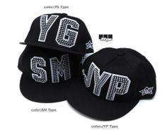 K POP SM/JYP/YG 3 TYPE UNISEX CUSTOM FLAT CAP SNAPBACK HAT HIPHOP BASEBALL CAP