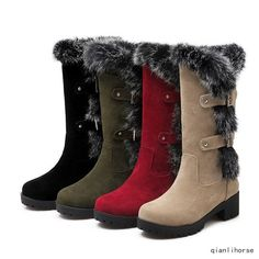 Womens Chunky Heels Mid Calf Boots Winter Warm Warm Shoes Fur Lined Snow Booties