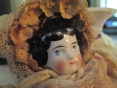 Antique German China Head Doll with Fancy by ParisPaintingsEtc