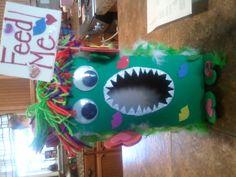 Cute idea for kids valentine mailbox at school. Kleenex box turned into Valentine Monster.