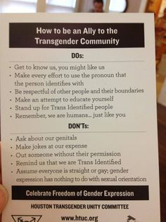 Do's and don'ts on being a trans ally.