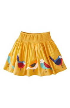 love the birds!  Mini Boden 'Decorative' Cotton Voile Skirt