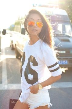 Lol one of my daily uniforms!  Sporty Looks for the Superbowl - Varsity tee and shorts