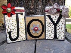 Christmas Blocks, Joy Blocks, Xmas Gifts, Wooden Block Set, Boutique Blocks, Holiday Blocks, Home Decor, Wooden Blocks, Gifts. $20.00, via Etsy.