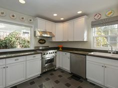 Portland Heights Area Residential: Chef's Kitchen With Slate Tile Floors, Granite Counters and Side Deck