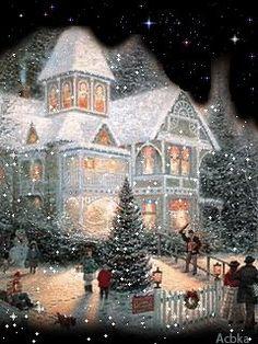 44 best ideas for merry christmas wallpaper thomas kinkade Christmas Scenery, Noel Christmas, Victorian Christmas, Vintage Christmas Cards, Christmas Pictures, Christmas Greetings, Winter Christmas, Christmas Mantles, Vintage Ornaments