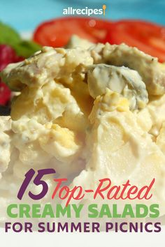 """15 Top-Rated Creamy Salads for Summer Picnics   """"These five-star summer salads are bound for glory! They're classic picnic salads Ñ potato, pasta, chicken, and more Ñ all held together with a thick, creamy sauce. Sometimes called """"bound salads,"""" they hold their shape when scooped out onto plates at summer picnics and cookouts."""" #potluckrecipes #partyappetizers #cookoutrecipes #picnicfood #picnicideas Chicken Potato Salad, Loaded Baked Potato Salad, Creamy Potato Salad, Potato Pasta, Creamy Cucumber Salad, Chicken Curry Salad, Chicken Salad Recipes, Potluck Recipes, Summer Recipes"""