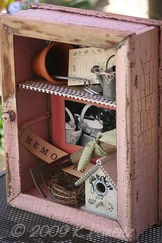 Just shows that you can make a shadow box to fit any theme...in any kind of cabinet or drawer or crate
