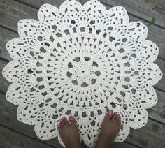 "Cotton Crochet Doily Rug in 30"" Circle Lacy Pattern Non Skid - 2 strands of cotton yarn"