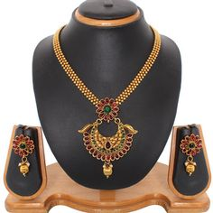 USD 13.36 Maroon Beads and Kundans Necklace With Earrings 42363