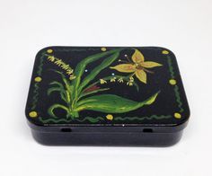 Vintage Tin Box Hand Painted Butterfly Design  by DartmouthHill