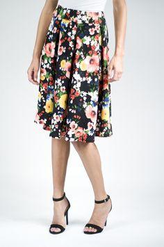 Black and Pink Floral Skirt Prim Lane