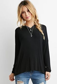 Dropped-Sleeve Drapey Hoodie   Forever 21   #thelatest