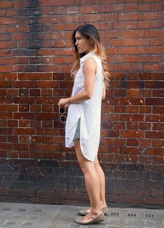 Your Outfit Today » White oversized blouse on shorts