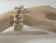 Vintage Charel Goldtone Faux Pearls Link Bracelet