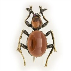 A Victorian garnet beetle brooch, the body set with two oval cabochon-cut garnets weighing approximately 8.5 carats and 1.3 carats claw-set in yellow gold, with six rose-cut diamond-set legs in silver to a yellow gold mount, with cabochon ruby-set eyes and diamond-set antenna, brooch fitting, gross weight 6.6 grams, circa 1880.