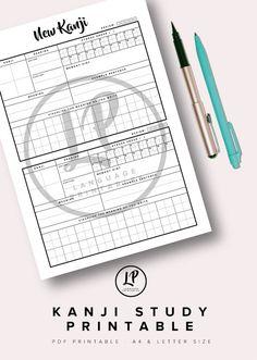 Learn Kanji Study Printable : Japanese language worksheet