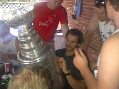 Kevin Westgarth checking some of the great names on the Cup.