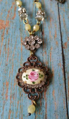Upcycled necklace repurposed vintage jewelry by RustySpiderweb #vintagejewelry #jewelryvintage