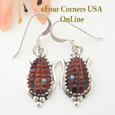 Red Spiny Oyster Maize Sterling Earrings Native American Zuni Four Corners USA Online -  NAER-1463, $47.00 (http://stores.fourcornersusaonline.com/red-spiny-oyster-maize-sterling-earrings-native-american-zuni-artisan-tracy-bowekaty-naer-1463/)