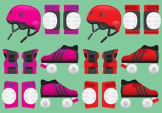 Roller Derby Equipment Vectors - https://www.welovesolo.com/roller-derby-equipment-vectors/?utm_source=PN&utm_medium=welovesolo59%40gmail.com&utm_campaign=SNAP%2Bfrom%2BWeLoveSoLo