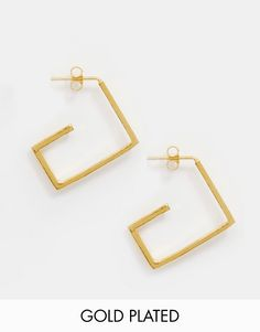 Cool Ottoman Hands Gold Plated Square Hoop Earrings - Gold Ottoman Hands ¯reringe til Damer til enhver anledning