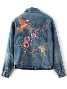 Floral Bird Embroidered Jacket With Pockets -