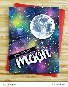 """Handmade galaxy card with stamped moon image. The word """"moon"""" was created using the Calligraphy Alpha die set. http://www.altenew.com"""