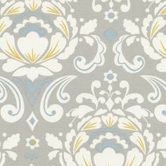 Taza Gray and Aqua Floral Fabric with Hints of Banana yellow by Carousel Designs. Yellow Fabric, Grey Fabric, Floral Fabric, Suzani Fabric, Kitchen Fabric, Kitchen Curtains, Carousel Designs, 3d Max, Pink Grey