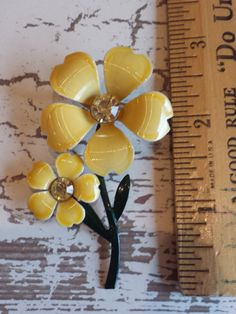 Vintage brooch with two yellow enamel petaled by SandysVintage