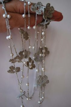 Linen Crocheted Lariat Necklace NELL   Natural Grey by magdalinen,
