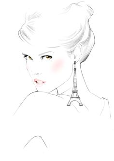 For Triumph by Sandra Suy - Pencil, Watercolor illustration. Fashion, Beauty