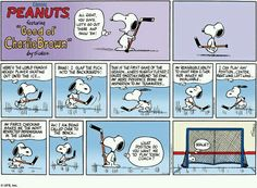 Here's the world famous hockey player Charlie Brown Comics, Charlie Brown And Snoopy, Snoopy Love, Snoopy And Woodstock, Snoopy Comics, Peanuts Comics, Peanuts Cartoon, Hockey Memes, Hockey Quotes