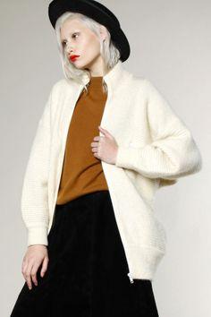 Vintage 80s Mohair Blend Oversized Cardigan Sweater #vintage #mohair #cardigan #wool #thriftedandmodern